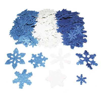 Flocons de neige Sodertex- mouse eva pailletée - 3 coloris assortis - 3 tailles d2,5/5/6 cm - épais 2mm - pack de 240 (photo)