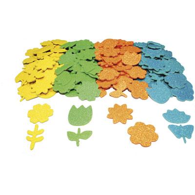 Gommettes Printemps Sodertex - mousse Eva pailletée 4 coloris assortis - 8 formes - d1,5 à 4 cm - épais 2 mm - pack de 200 (photo)