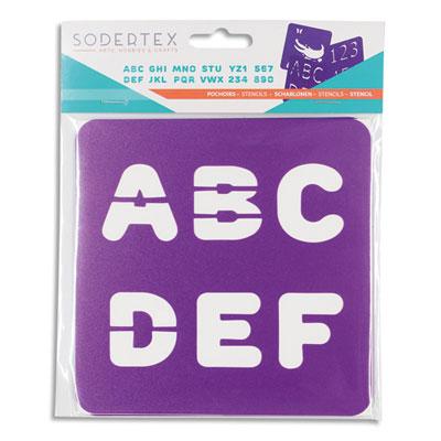 Pochoirs chiffres et lettres Sodertex - pack de 6 - coloris assortis - plastique - l14 x h14 cm - épaisseur 5 mm (photo)