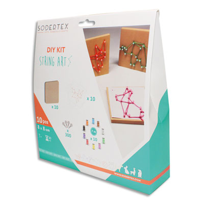 String art Orig'Animals Sodertex - coloris assorties - avec accessoires - planche 10 x 10 cm - épaisseur 9 mm - kit de 10