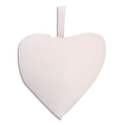 Cœurs Sodertex - avec accroche - blanc - 100% coton - à customiser - dimensions : 8 x 9 cm - lot de 10 (photo)