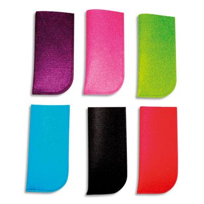 Etuis à lunettes Sodertex - feutrine - 6 coloris assortis - 8 x 16,8 cm - épaisseur 3 mm - lot de 10 (photo)