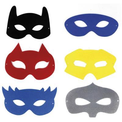 Masques Sodertex - feutrine - thème héros - 6 coloris assortis - 10/18 cm - épaisseur 1 mm - fil noir - lot de 12 (photo)