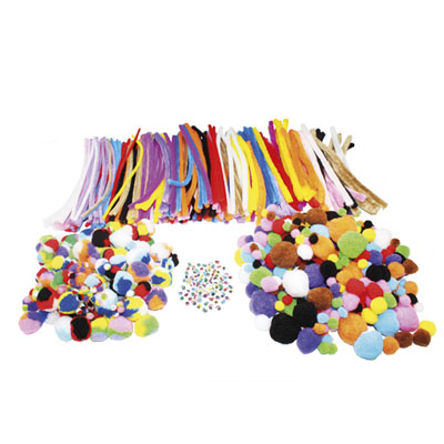 Pack Sodertex - 300 pompons + 200 pompons tricolores + 300 chenilles + 100 yeux mobiles - tailles assorties