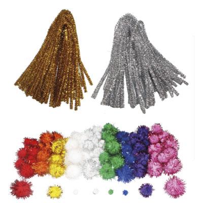 Maxi glitter pompons et chenilles - classe entière - tailles et coloris assortis - pack de 300