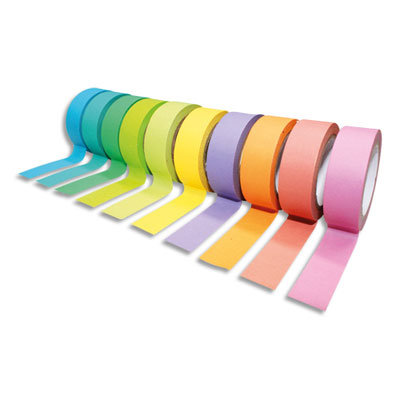 Rubans adhésifs Sodertex - thème rainbow - coloris assortis - dimensions : h15 mm x l10 m - pack de 10 (photo)