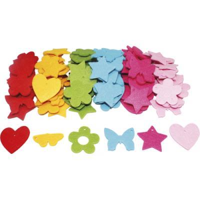 Sachets de 30 formes - feutrine - épaisseur - 3 mm d4 cm : fleurs et papillons - cœurs et étoiles - pack de 4