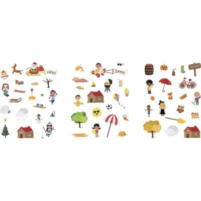 Planches Sodertex - 17x22 cm - 360 stickers papier - 4 saisons - scènes téléchargeables 2 à 4 cm - pack de 48