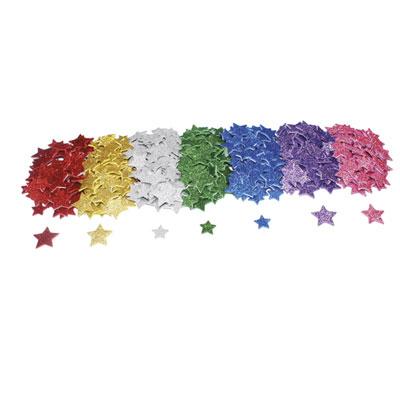 Etoiles Sodertex  - mousse eva pailletée adhésive - 7 coloris - 4 tailles 20 à 30 mm - épais 2mm - pack de 500 (photo)