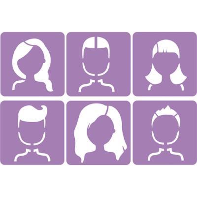 Pochoirs Sodertex les visages - plastique - dimensions : 14 x 14 cm - épaisseur 5 mm - pack de 6 (photo)