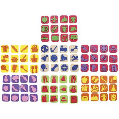 Mini tampons Sodertex - 7 thèmes assortis - classe entière - diamètre 3,5 cm - pack de 84 (photo)