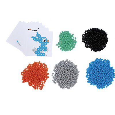 Aqua Perles Aqua'Nimals Sodertex - d3 mm - 5 coloris assortis + 10 feuilles modèles - 7,8x7,8 cm - pack de 1500 (photo)