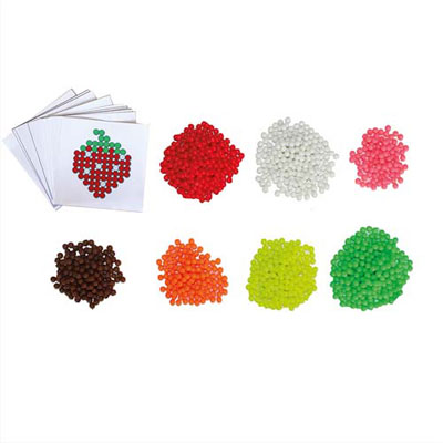Aqua Perles Fruits d3 mm Sodertex - 7 coloris assortis + 10 feuilles modèles - 7,8 x 7,8 cm - pack de 1500 (photo)