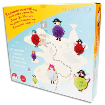 Pompons moussaillons Sodertex - à fabriquer - personnages en carton et fil de laine - kit de 12 (photo)