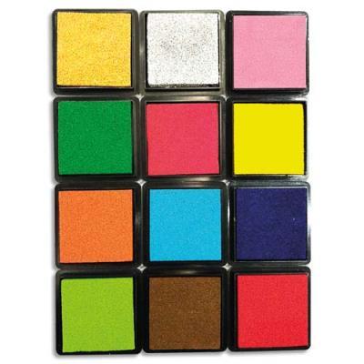 Encreurs empreinte digitale Sodertex - 12 coloris assortis -  mousse eva - dimensions 4 x 4 cm - pack de 12 (photo)
