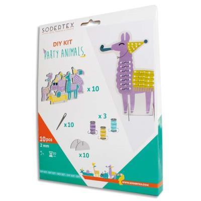 Cartes Sodertex Party Animals - coloris assortis - taille 8-16 cm - à broder - 3 bobines de fil - 10 aiguilles - kit de 10 (photo)