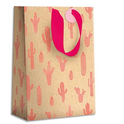 Sac cadeau papier Draeger Cactus roses - L26XH33cm - Poignées en ruban - Or à chaud