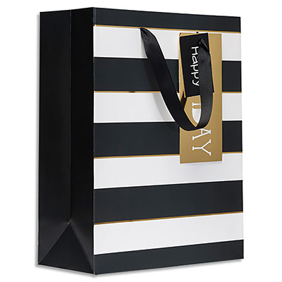 Sac cadeau papier Draeger Rayures noires - L26XH33cm - Poignées en ruban - Or à chaud