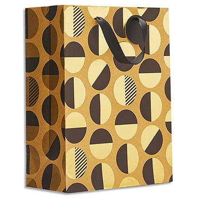 Sac cadeau papier Draeger Ronds noirs/or - L26XH33cm - Poignées en ruban - Or à chaud