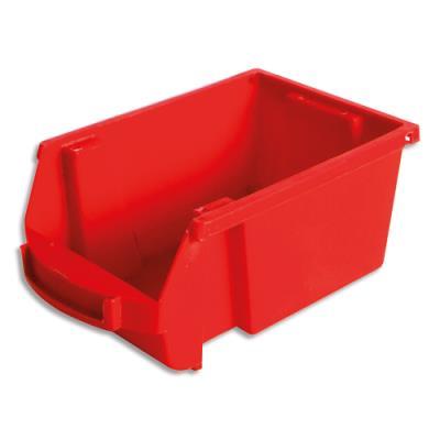 Bac de rangement à bec Viso Spacy - 1L - avec porte étiquette - polypropylène - rouge - L10 x H7 x P16 cm