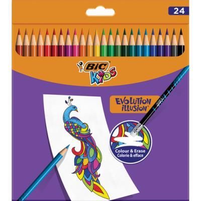 Crayons de couleur Bic Kids Evolution Illusion - corps rond assortis - pochette de 24 - effaçable bout gomme (photo)