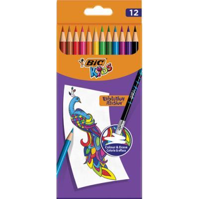 Crayons de couleur Bic Kids Evolution Illusion - corps rond assortis - pochette de 12 - effaçable bout gomme (photo)