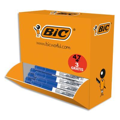 Effaceurs Bic réécriveurs +3 gratuits - corps plastique - blanc bleu - pointe ogive moyenne - 4,5mm - pack de 47 (photo)