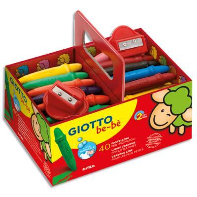 Schoolpack de 40 crayons à la cire incassables + 2 taille crayons Giotto bebe