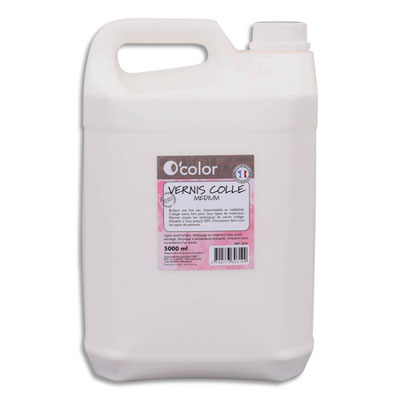 Bidon O Color - 5 litres - vernis colle - blanc - s'incorpore à tous types de couleurs - diluable à l'eau (photo)