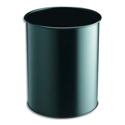 Corbeille à papier Confort métal - 15 litres - noir (photo)