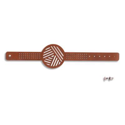 Bracelets Graine Créative - à broder - polyuréthane - marron - échevette de coton - aiguille et attache - lot de 12 (photo)