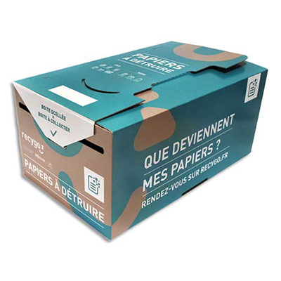 Collecteurs de Papier Kadnabox Recygo - en carton recyclé - 20L - L25 x H19 x P28 cm - marron/bleu - lot de 10 (photo)