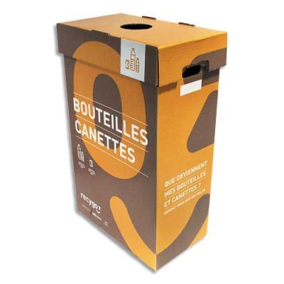 Collecteurs de bouteilles Ecobox Recygo - en carton recyclé - 95L - L45 x H75 x P28 cm - marron/orange - lot de 3 (photo)