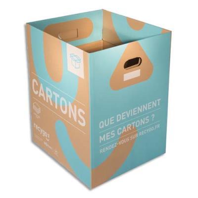 Collecteurs de cartons Ecobox Recygo - en carton recyclé - 132L - L50 x H60 x P44 cm - marron/bleu clair - lot de 3 (photo)