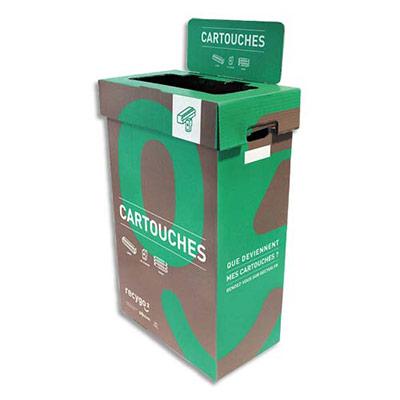 Collecteurs de cartouches Ecobox Recygo - en carton recyclé - 95L - L45 x H75 x P28 cm - marron/vert - lot de 3 (photo)