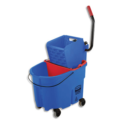 Seau Lavage à plat Combo WaveBrake Rubbermaid + seau 33 /17L + Presse latérale - polypropylène - bleu / rouge (photo)