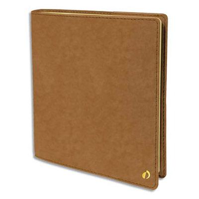 Agenda Quo Vadis Wild Exécutif Prestige - format 16x16 cm - 1 semaine sur 2 pages - papier ivoire - couverture velours camel
