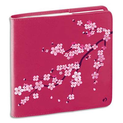 Agenda Quo Vadis Bloom Exécutif - format 16x16 cm - 1 semaine sur 2 pages - couverture simili cuir Sakura fleurs rose