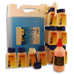 Lot 5 litres colle marine océane + 24 flacons vides + pompe + cleotoo 100ml offert (photo)