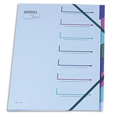 Trieur 7 compartiments Extendos - bleu en carte forte - avec élastique de fermeture