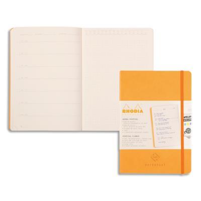 Agenda perpétuel Rhodia Rhodiarama - format A5 - 90 g - 128 pages - papier ivoire - coins microperforés - orange (photo)