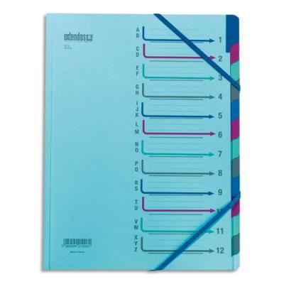 Trieur 12 compartiments Extendos - bleu en carte forte - avec élastique de fermeture (photo)