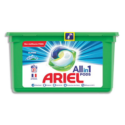Doses de lessive liquide Ariel - parfum Alpine - 781,2 g - boite de 31 (photo)