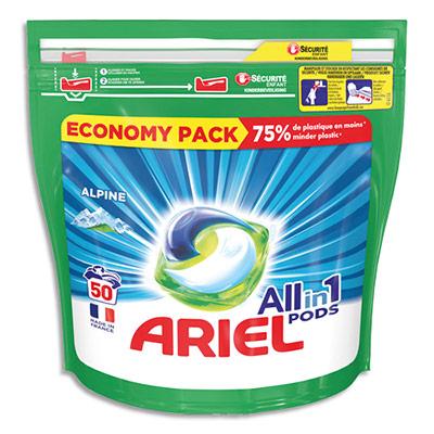 Doses de lessive liquide Ecodoses Ariel - parfum Alpine - boite de 50 (photo)
