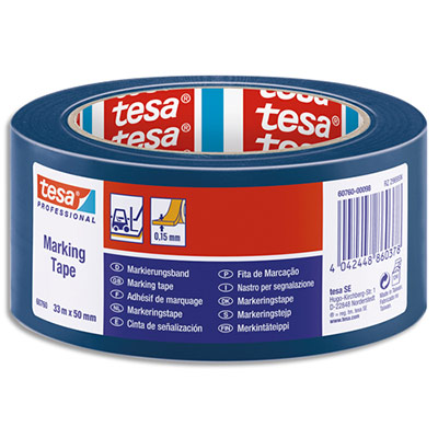 Ruban adhésif marquage au sol Tesa - PVC - 150 microns - 33m x 50mm - bleu