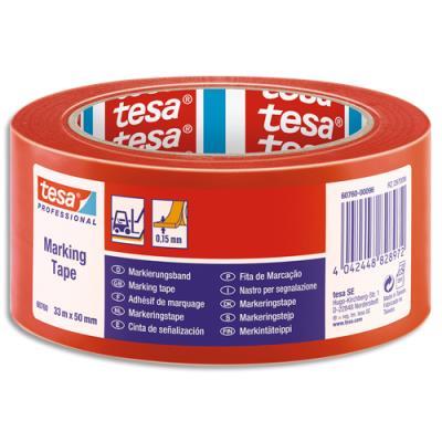 Ruban adhésif marquage au sol Tesa - PVC - 150 microns - 33m x 50mm - rouge