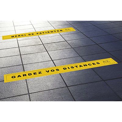 Lot de 4 stickers pour sol Take care by CEP - 68 x 8 cm - 2 x ''Gardez vos distances'' / 2 x ''Merci de Patienter''
