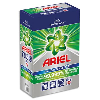 Lessive en poudre professionnelle Ariel - élimine dès 40 °C 99,999 % des bactéries - boite de 120 doses (photo)