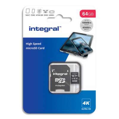 Carte Micro SDXC + adaptateur  - 64Go - V30 - U3 - A1 - Class 10 (photo)