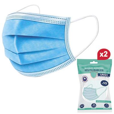 Masques barrières - lavables 10 fois - UNS1 anti-projection - filtre supérieur à 90% + 1 pack de 1 - paquet de 10